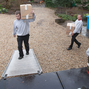 Men loading a moving van.