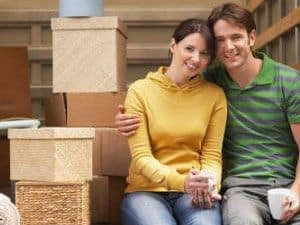 Couple moving home take a break